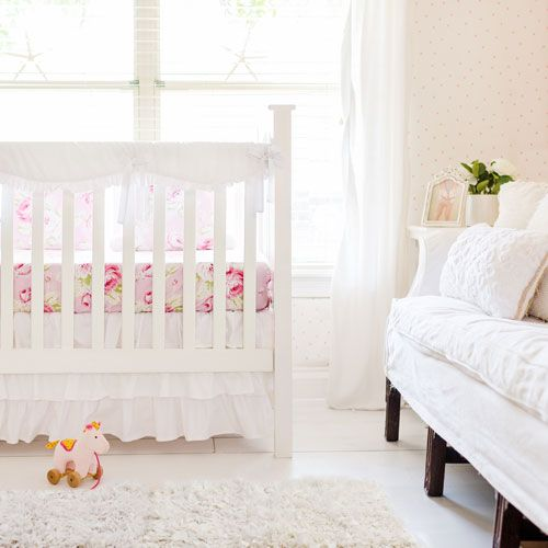 Simple But Sweet Is The Essence For This White And Fl Baby Bedding Our
