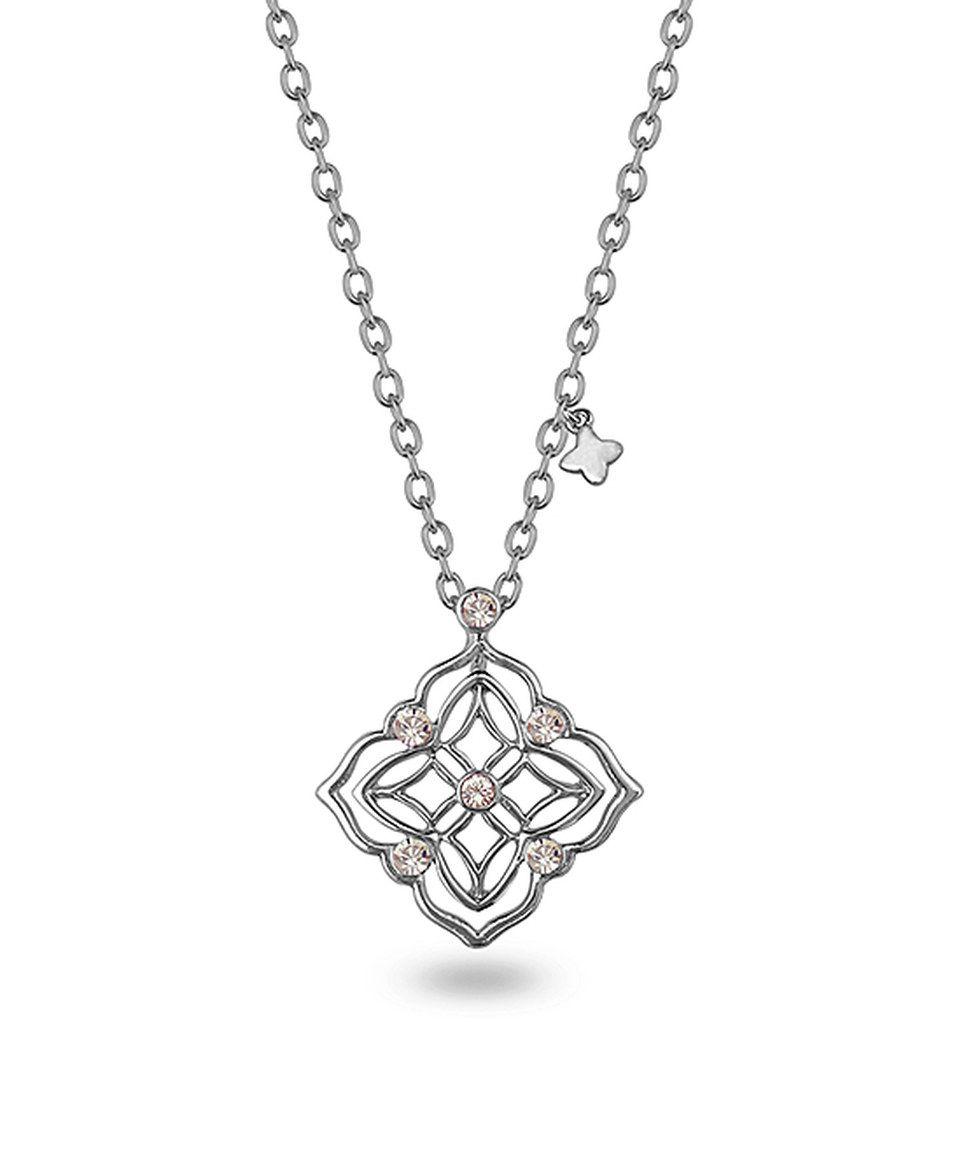 Crystal & Silvertone Bloom Pendant Necklace by Amabel Designs #zulily #zulilyfinds