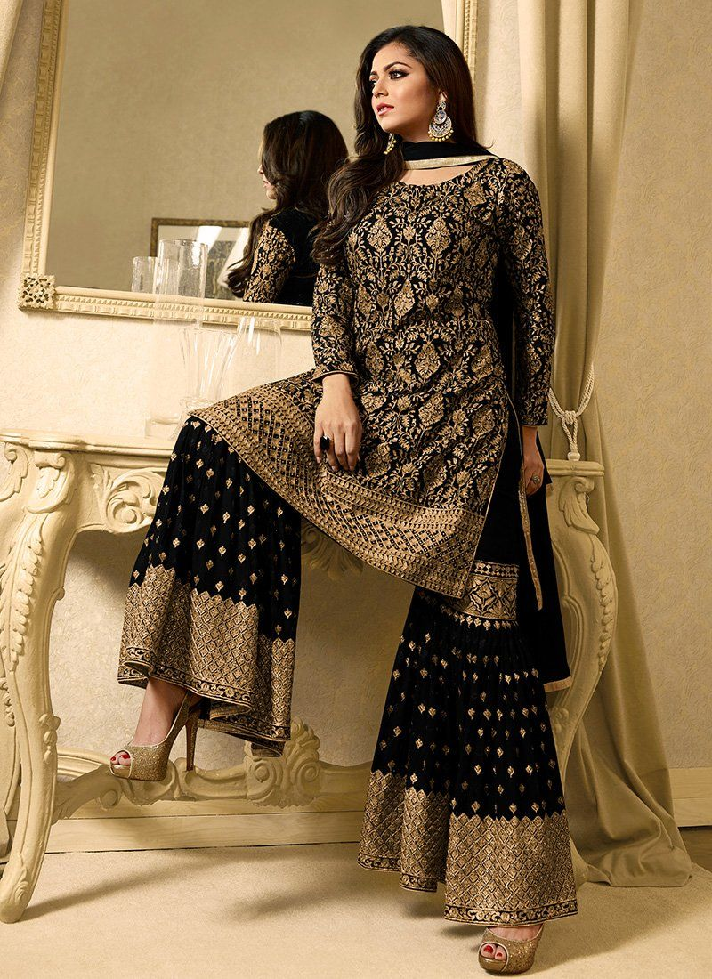 fb7eaacb38 Black and Gold Embroidered Georgette Gharara Suit – Lashkaraa ...