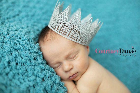 Newborn Lace Princess or Prince Sparkle Crown by Babyinthehat, $16.00