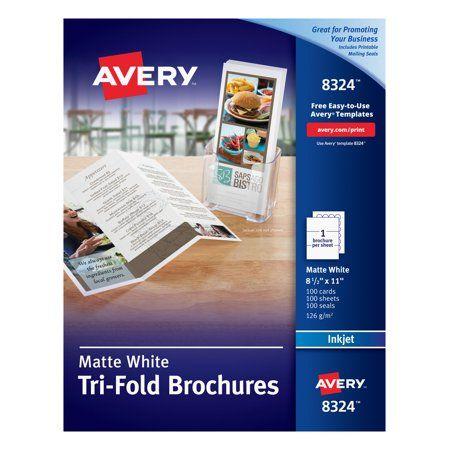 Avery Tri Fold Brochures Matte Two Sided Printing 8 1 2 X 11 100 Brochures 8324 Walmart Com In 2021 Trifold Brochure Brochure Inkjet