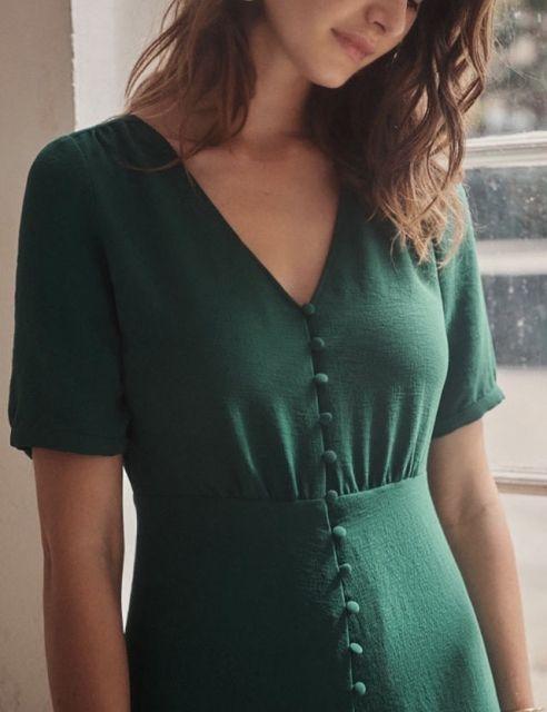Photo of Short Sleeves Prom Dress Green Formal Dress V-Neck Fashion Dress