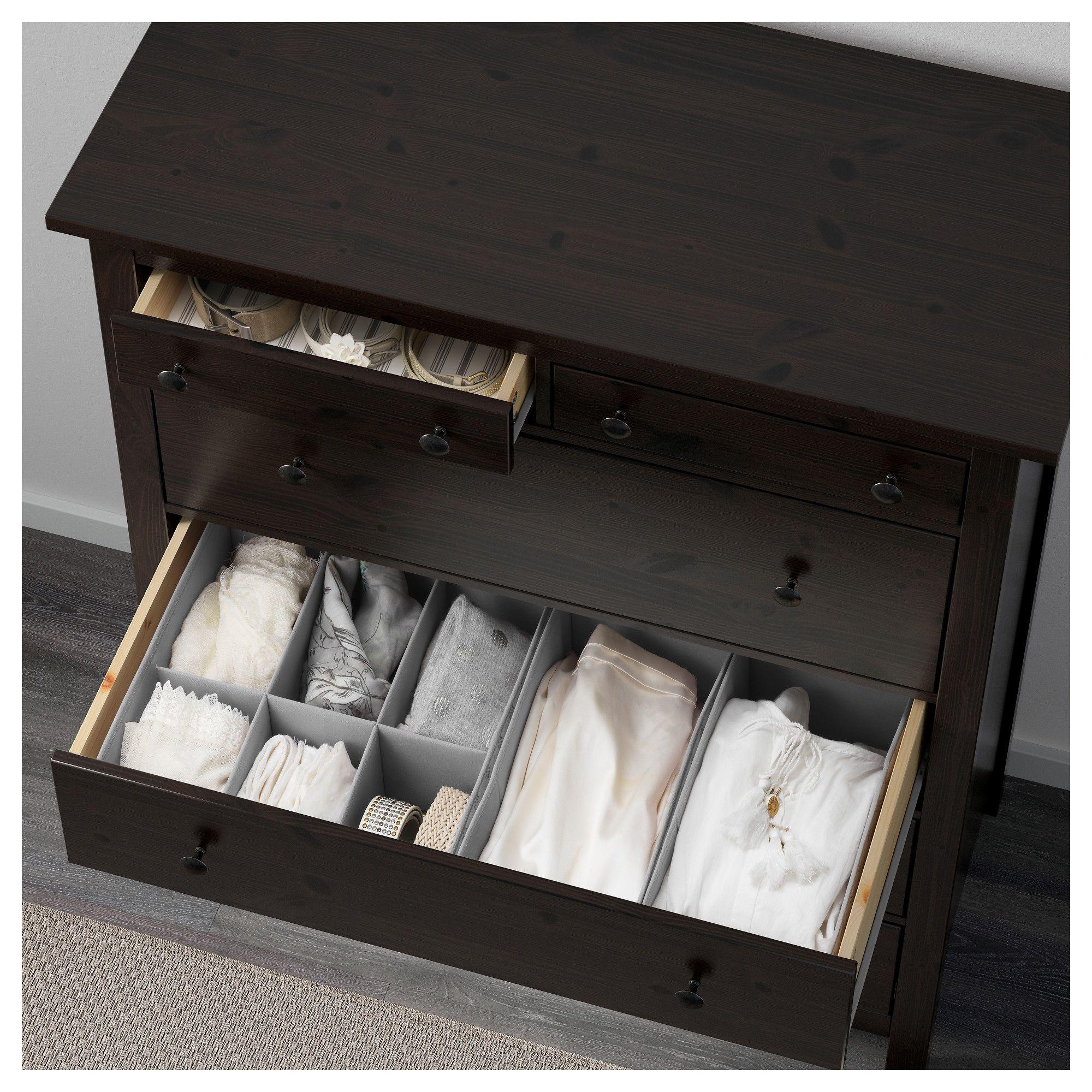 Ikea Hemnes 6 Drawer Chest Black Brown