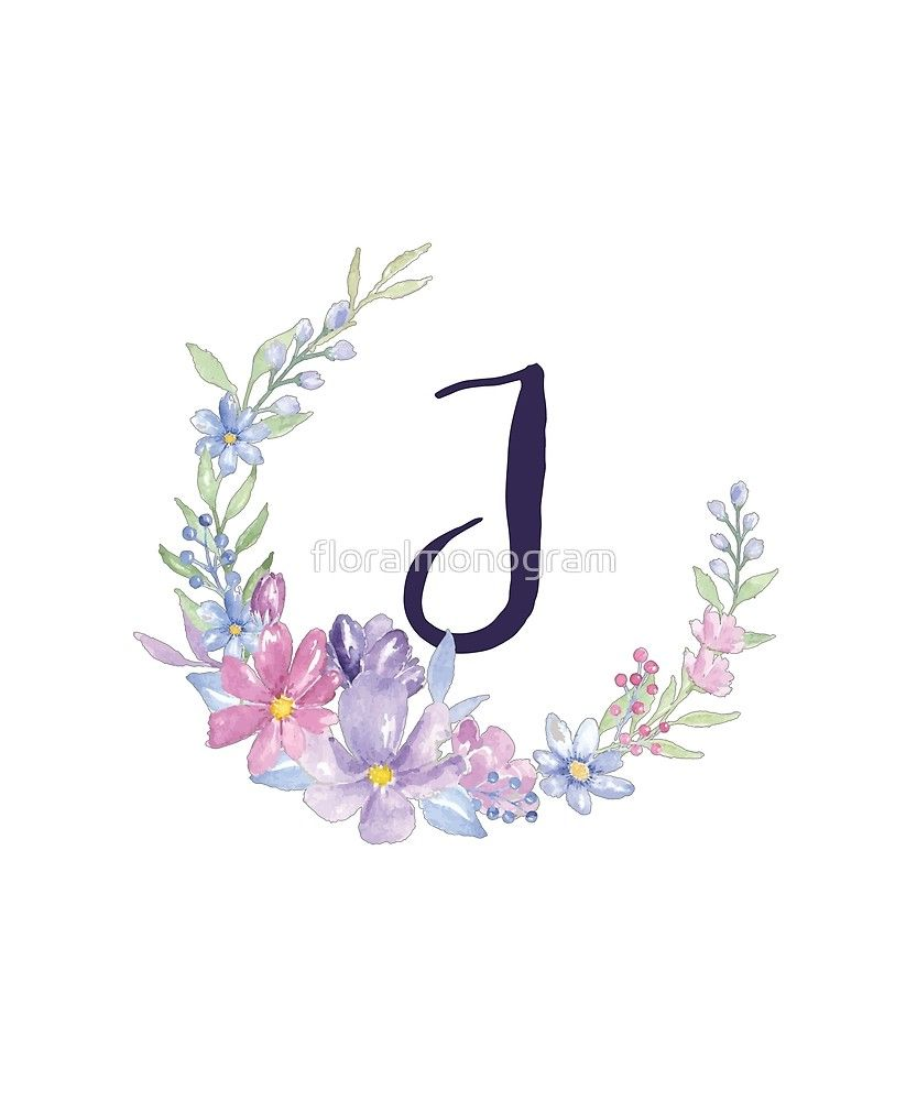 Monogram J Pastel Watercolor Flowers Sticker Watercolor