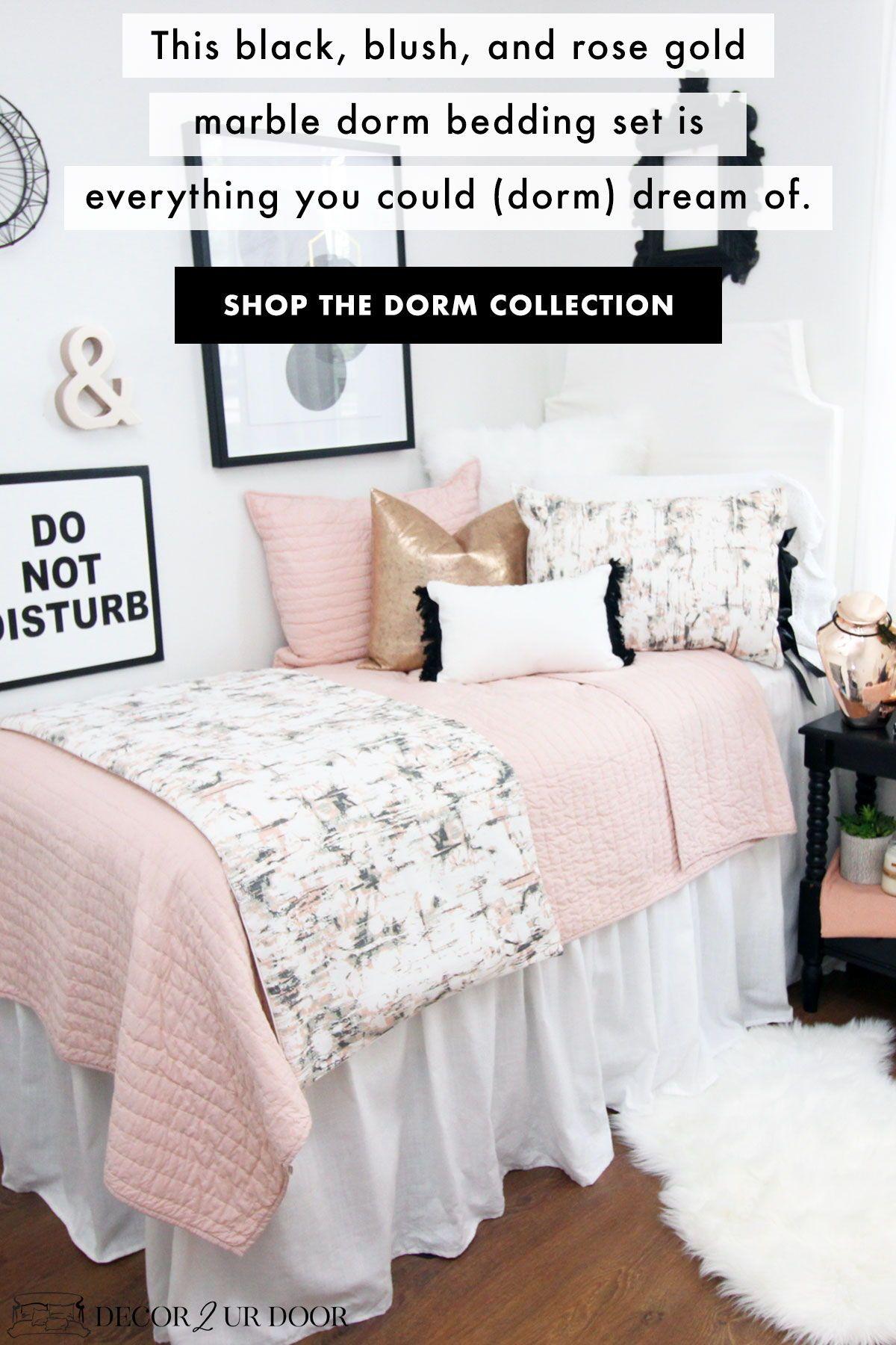 Blush Rose Gold Marble Dorm Bedding Set Dorm Bedding Sets Dorm Bedding Girls Dorm Room