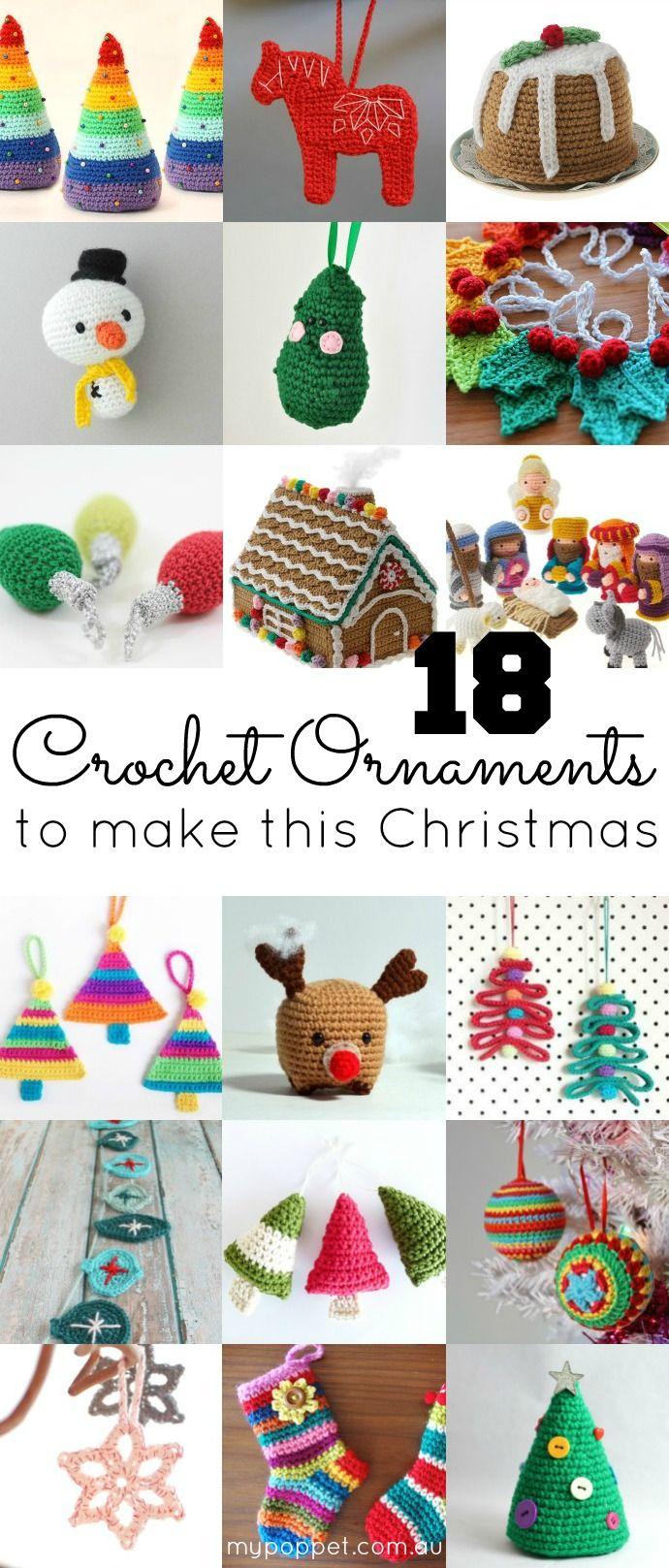 DIY ganchillo 18 Adornos de Navidad Patrones de Mi Poppet.At el ...
