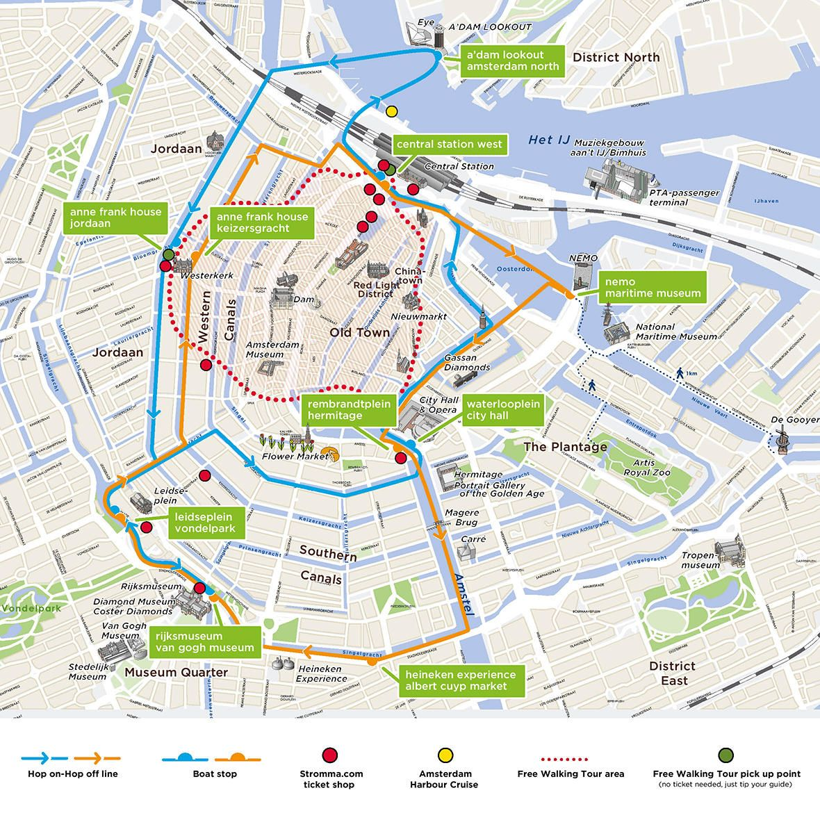 Map Of Amsterdam Hop On Hop Off Boat Day Pass And Heineken