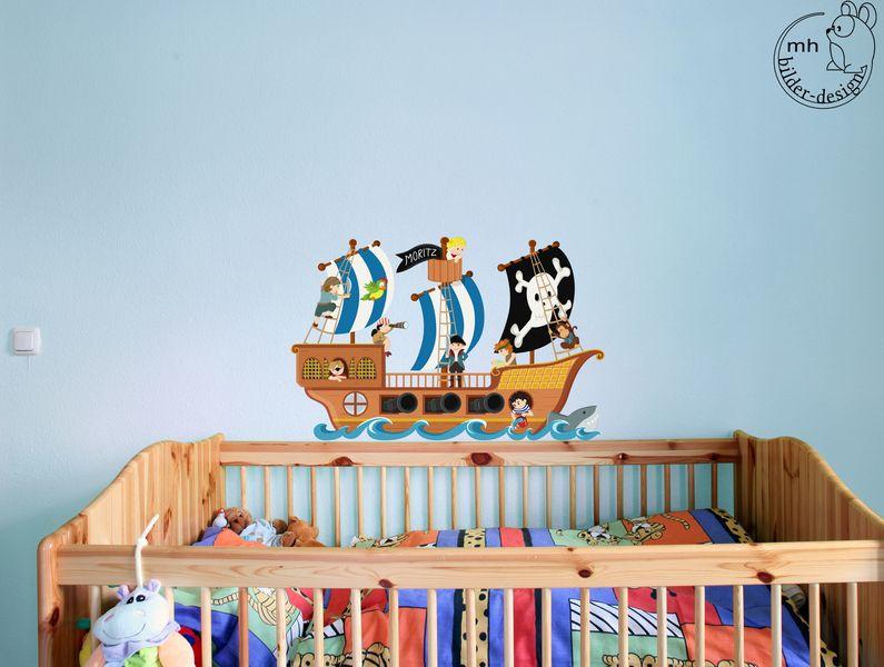 Kinderzimmer junge pirat  Wandtattoo Piratenschiff Kinderzimmer Junge Pirat | Piratenschiff ...