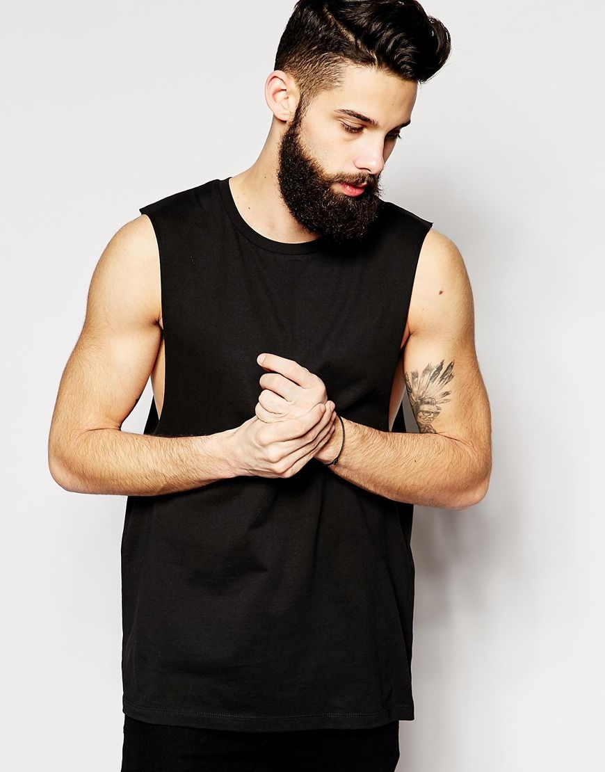 40548329fba8c6 ASOS Sleeveless T-Shirt With Dropped Armhole