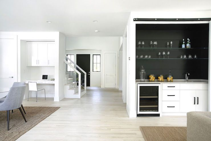 Best Modern Living Room Wet Bar Nook Is Filled With Tongue And Groove Painted Black Filled With White 400 x 300
