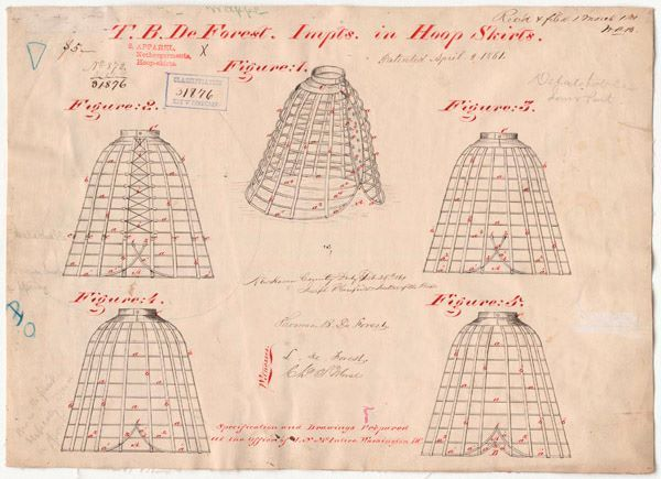 1861 The U.S. National Archives. Original Caption: Drawing of Improvements in Hoop Skirts, 04/02/1861 U.S. National Archives' Local Identifier: Utility Patent 31,876 Created By: Department of the Interior. Patent Office. (1849 - 1925)