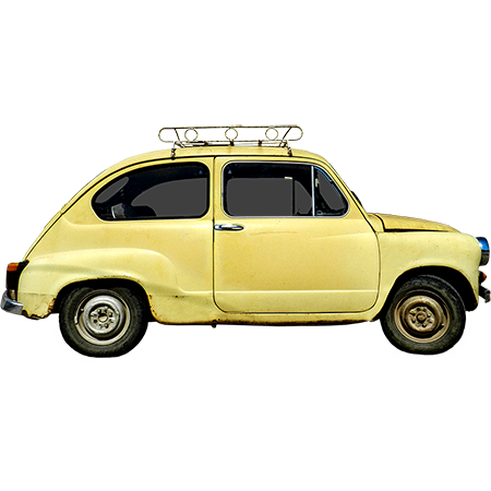 A Yellow Cropped Bug From The Side Elevation View Put Your Stuff On The Roof Rack And Watch It Fall Off Should Have Secured It Somehow Roof Rack Old Bug Car