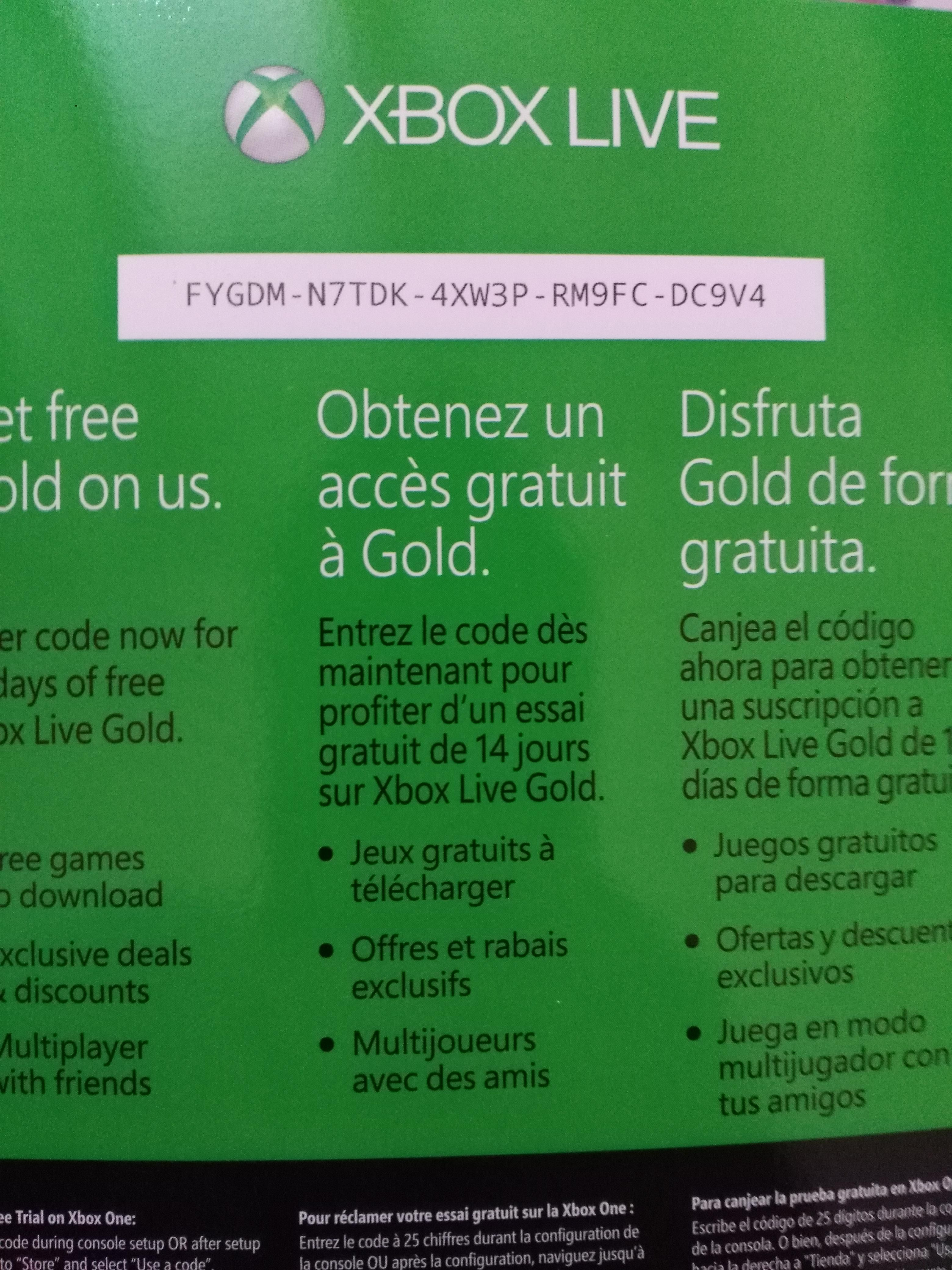 xbox one live gold code free 2018