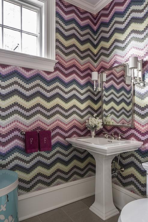Contemporary Kids Bathroom Boasts Walls Clad In Missoni