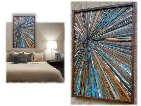 Reclaimed Wood Starburst Art ~ Geometric Art ~ Custom Wall Art ~ Infinity Point Art ~ Rustic Wood Art ~ Transitional Décor ~ Colorful Art #reclaimedwoodwallart