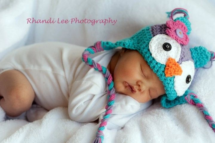 2590ad28bad I need to make this teenager size... Baby Girl Owl Hat NewbornAdult Made