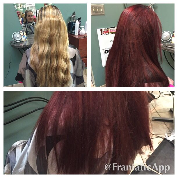 Blonde To Burgundy Red Before And After Photos Blonde Color Blonde To Burgundy Long Hair Styles