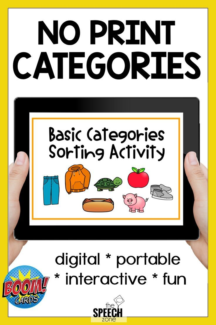 Boom cards no print category sort speech therapy