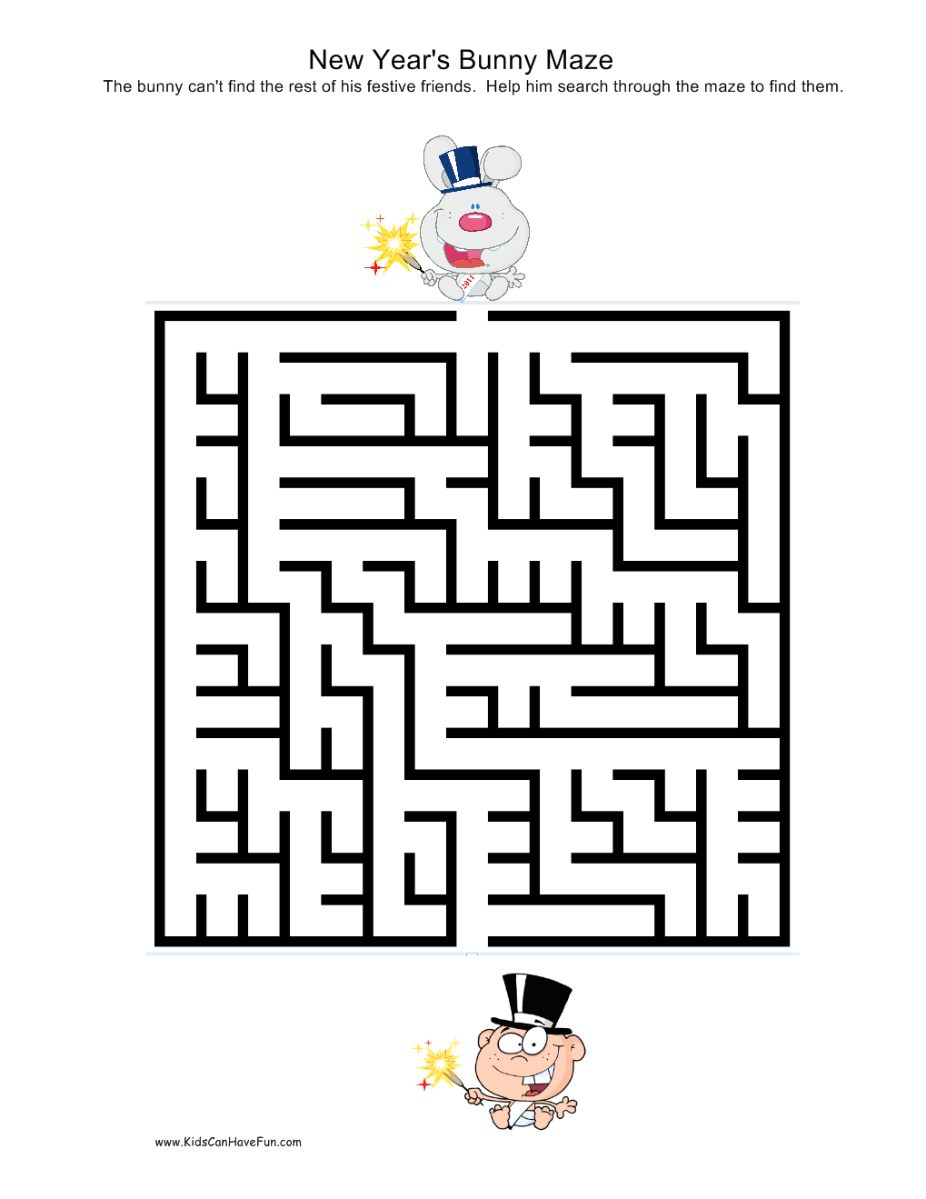 New Years Bunny Maze | New Years | Pinterest | Maze and Bunny