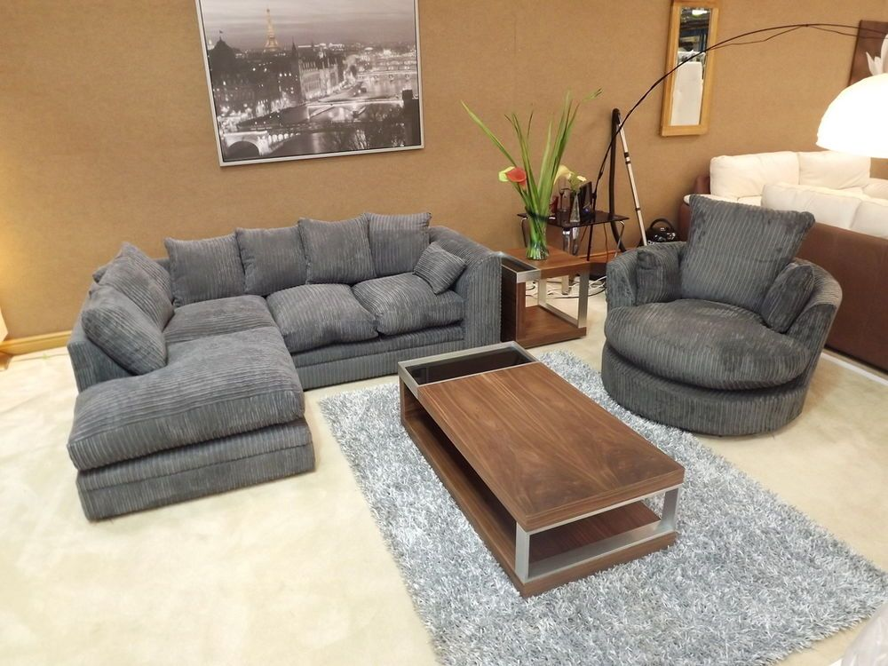 Dylan Jumbo Cord Charcoal Grey Corner Sofa With Matching