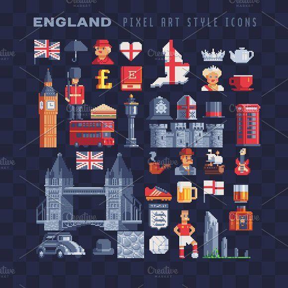 Pixel art England icons set  Video Game Icons #symbol