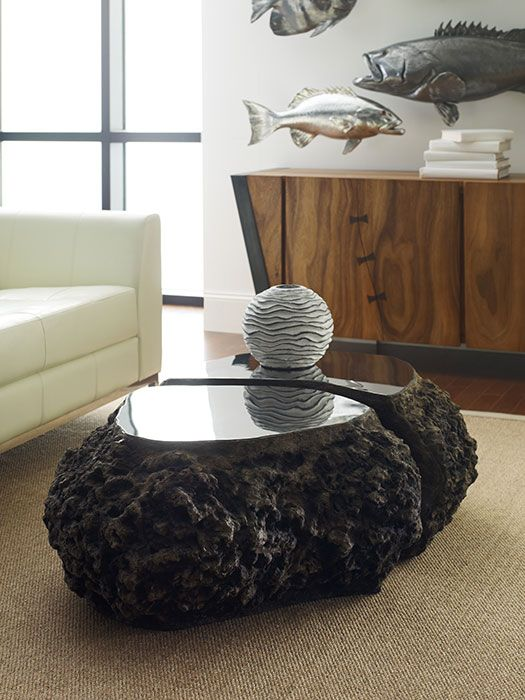 Phillips Collection Split The Difference Coffee Table Made Of Cast Volcanic Pumice Stone