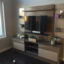 Manhattan Comfort Morning Side Entertainment Center Nature And Black Kitchen Dining