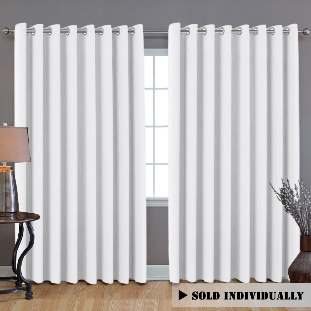 Amazon Com H Versailtex Blackout Patio Grey Curtains Extra Long And Wider 100 W By 108 L Ther In 2020 White Curtains White Blackout Curtains Room Divider Curtain