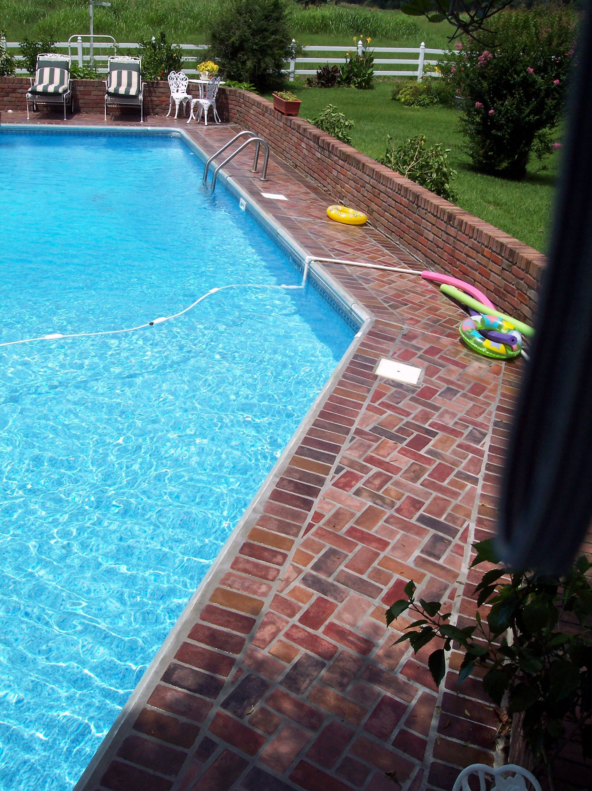Brick Pool Deck Traditional Pool With Lovely Used Brick Patio & Decking  Garden