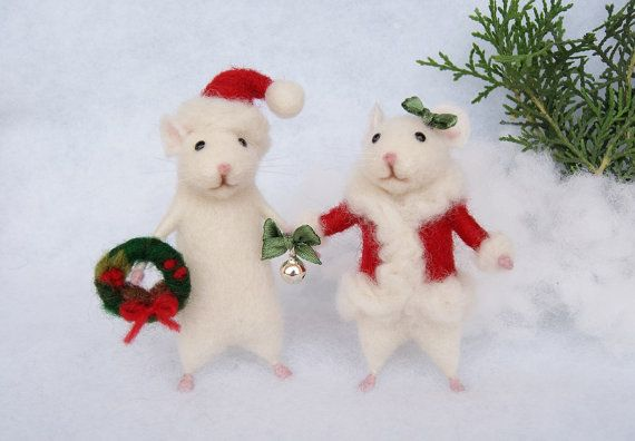 Needle felt mouse Christmas mouse White mouse by DidiDaydream