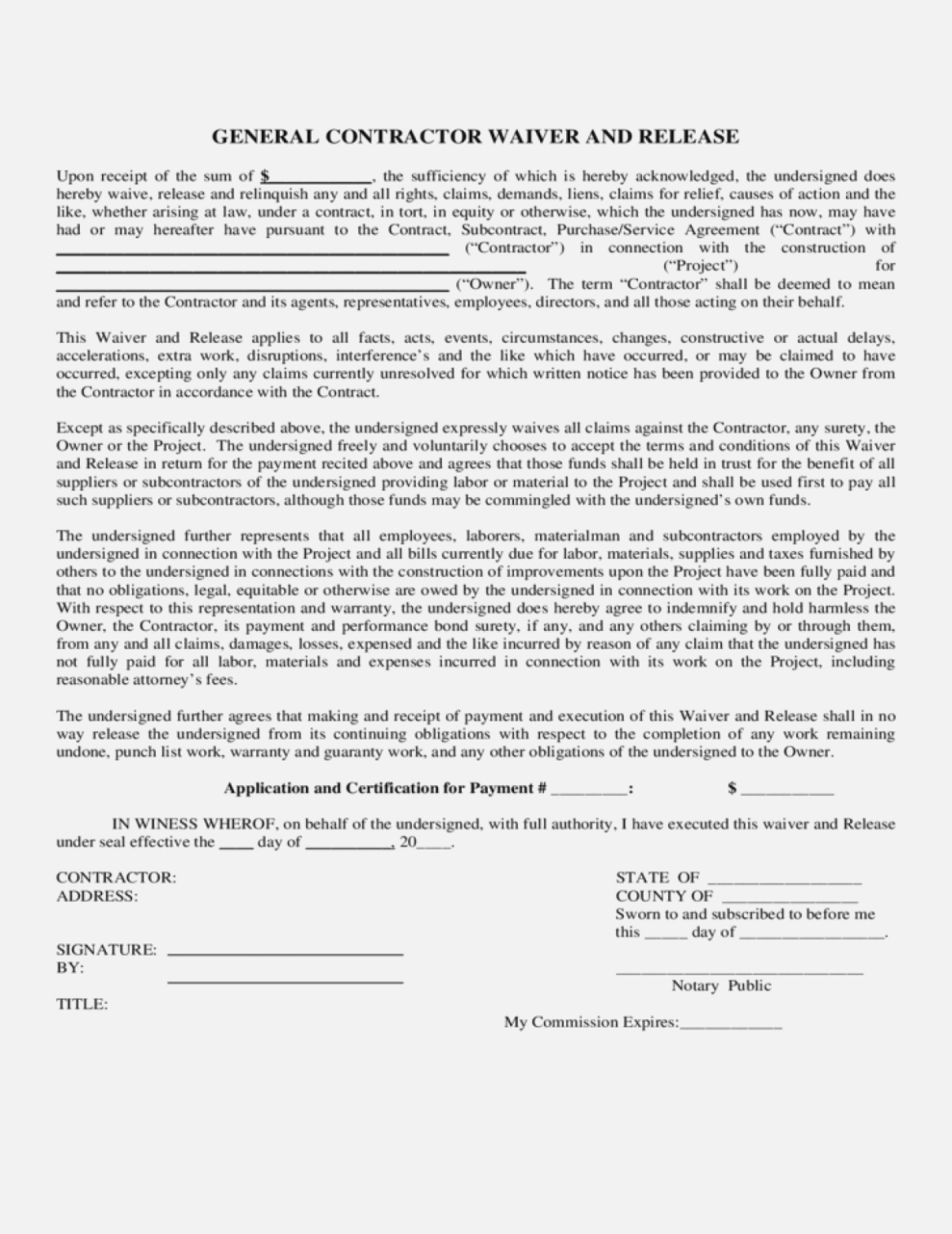 Contractor Liability Waiver Form General Contractor Contractors Liability Waiver