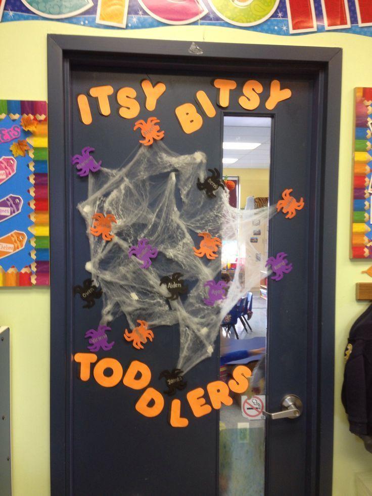 Halloween toddler classroom door #falldoordecorationsclassroom