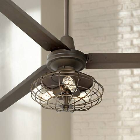 Enjoy a powerful refreshing breeze with this industrial cage style ceiling fan featuring Nostalgic Edison style bulbs.
