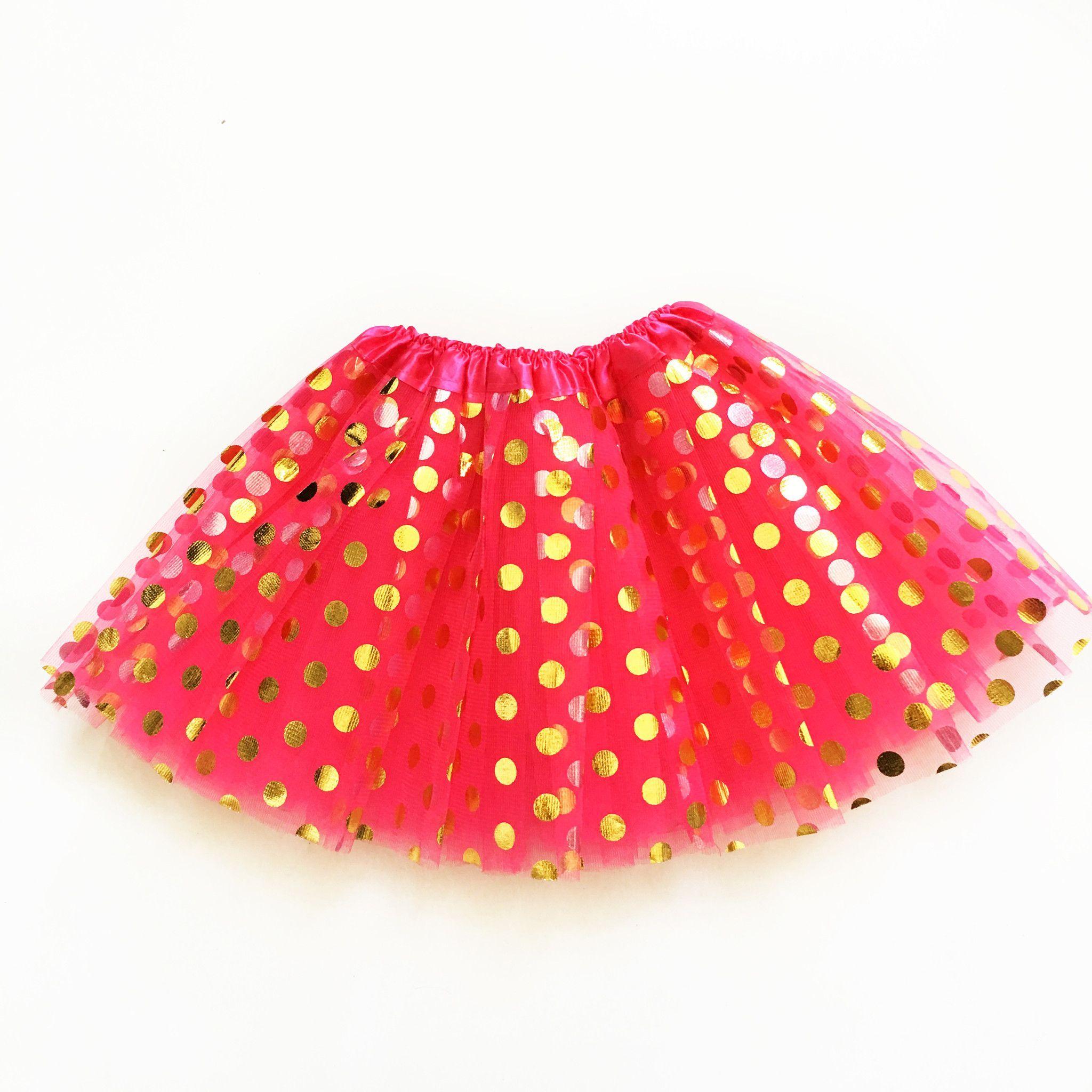 tutu skirt hot pink with metallic gold polkadots products