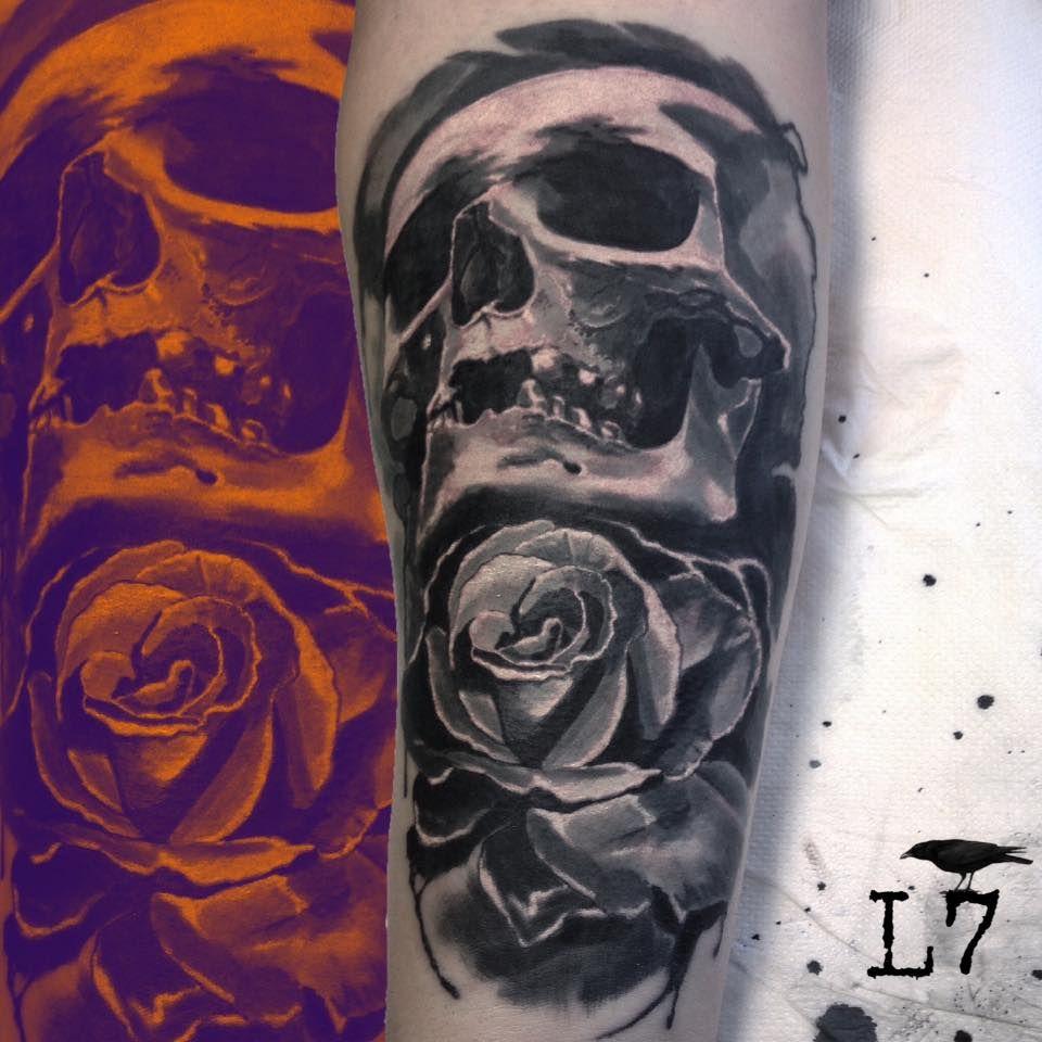 Skull And Rose Black And Grey Tattoo Tatuering Inspiration Tatuering