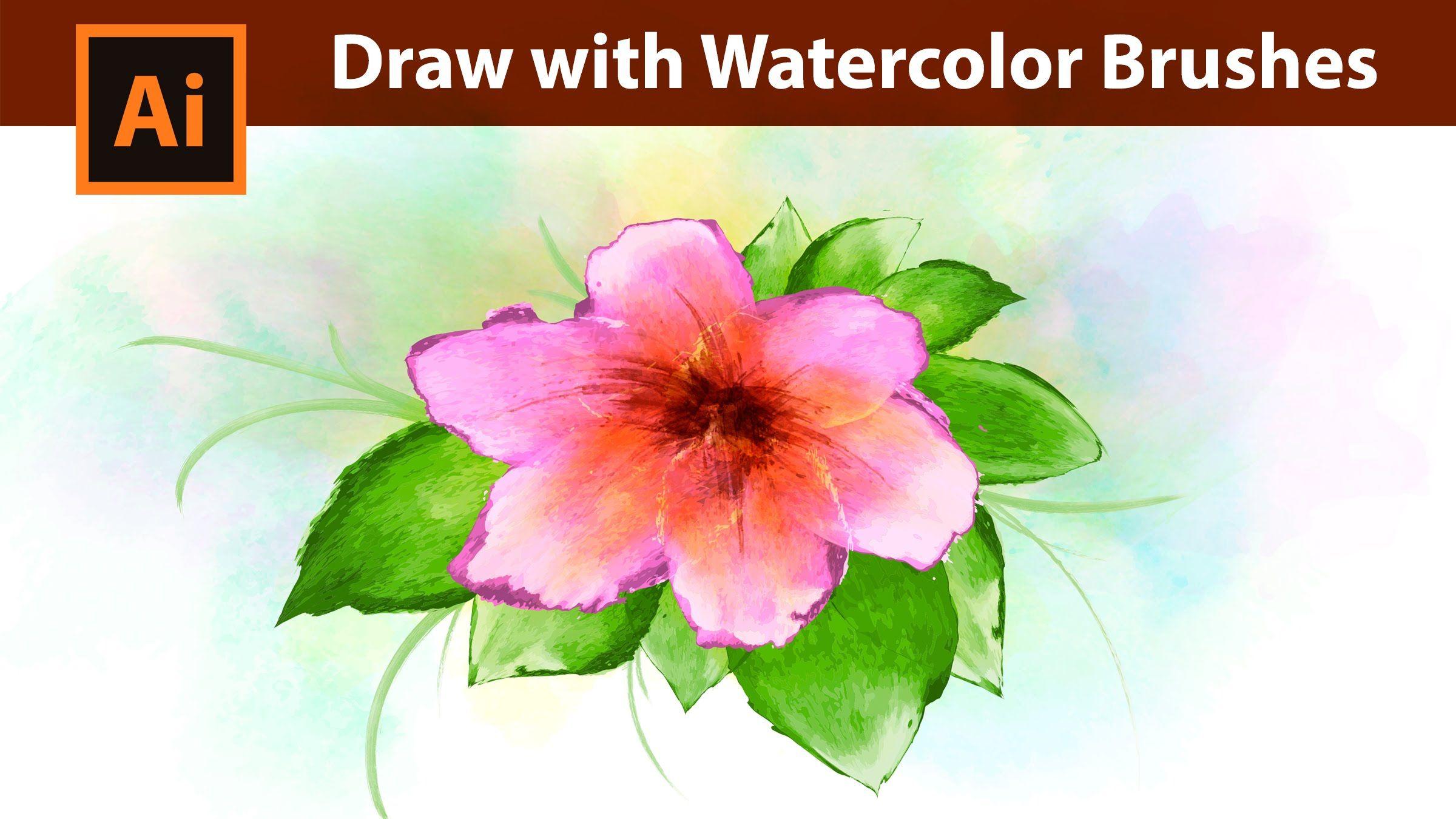 Adobe Illustrator Flowers Watercolor Drawing Tutorial Flower