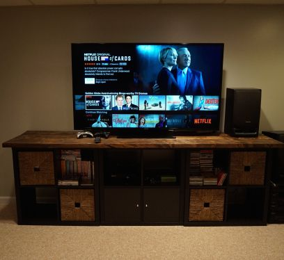 Ikea Hack Kallax Tv Stand With Wooden Top For The Home In 2019