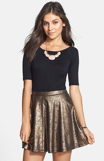 a88c4371a550 Mimi Chica Metallic Faux Leather Skater Skirt (Juniors) available at  #Nordstrom