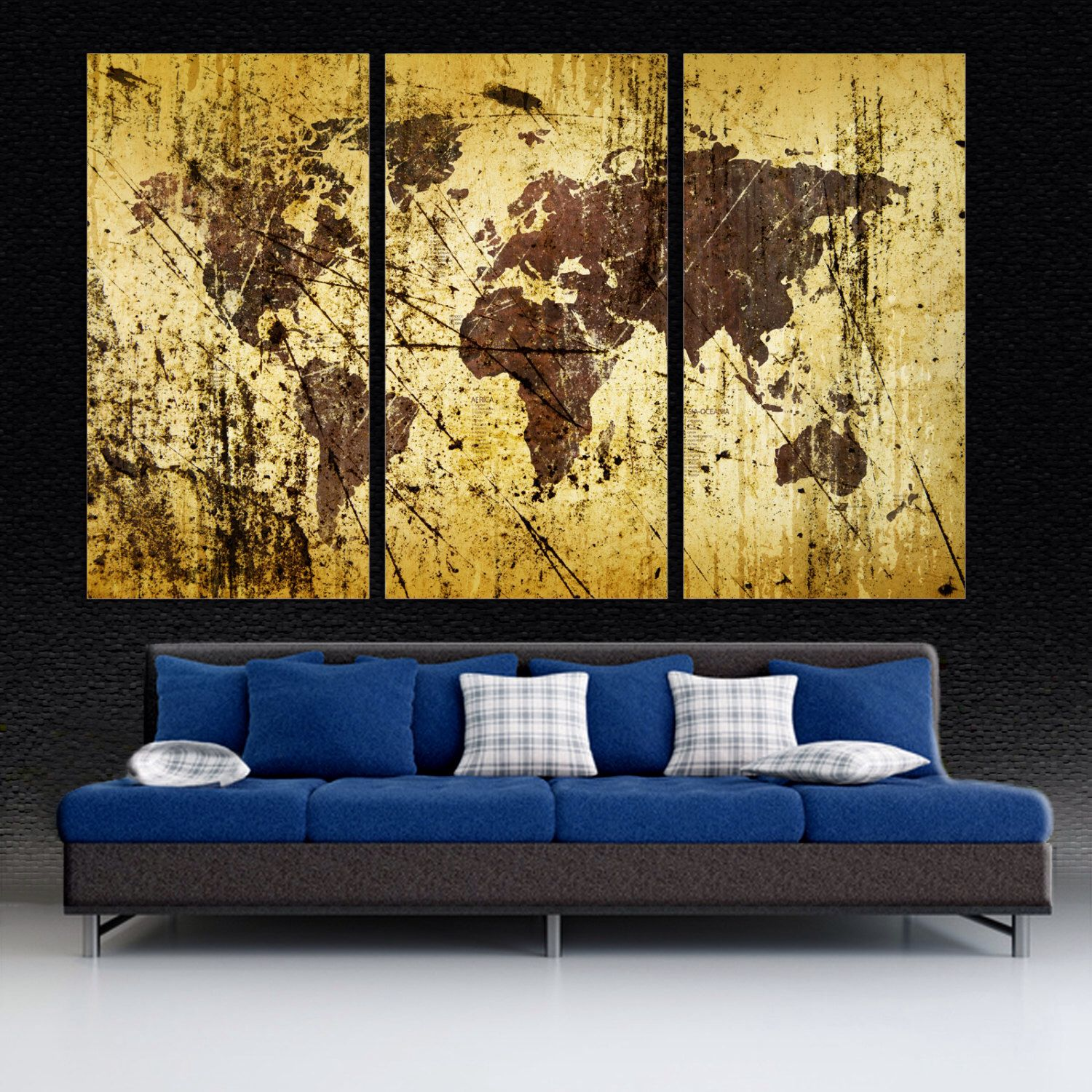 3 Panel Split Abstract World Map Canvas Print, 1.5\