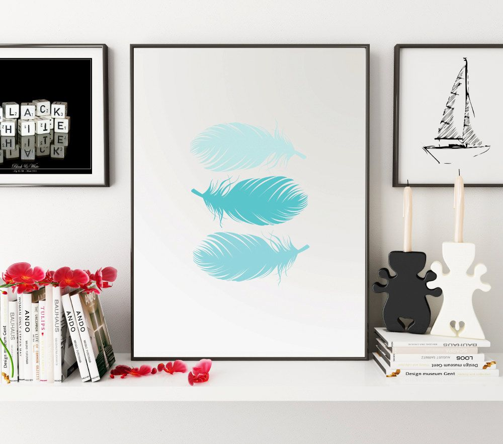 Blue feather print blue nursery decor blue wall art feather wall