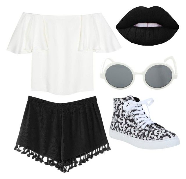 """""""Black + White"""" by americana00 on Polyvore featuring Valentino and Lime Crime"""