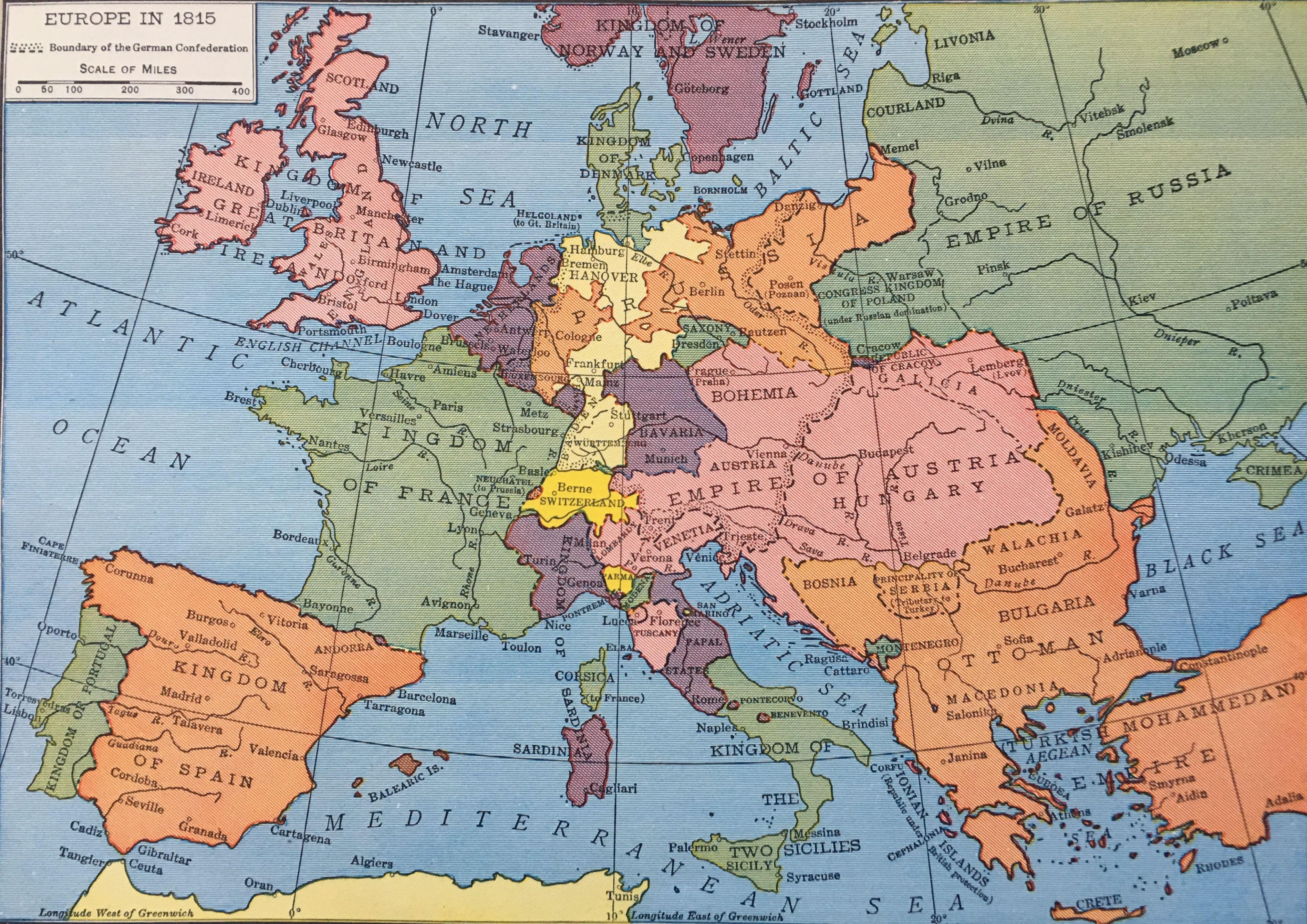 Europe In 1814 Rand Mcnally Company 1946 Historical Maps