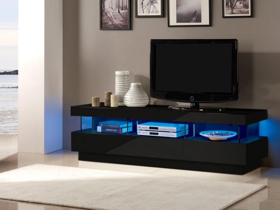 Meuble TV FABIO - MDF laqué noir - LEDs - 3 tiroirs  3 niches