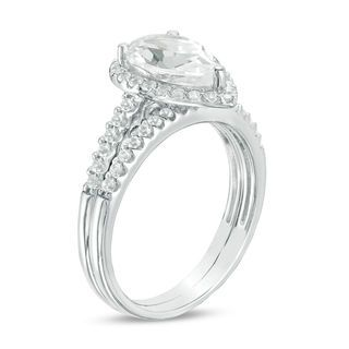 Zales Lab-Created White Sapphire Cluster Frame Bridal Set in Sterling Silver 1kCxrM