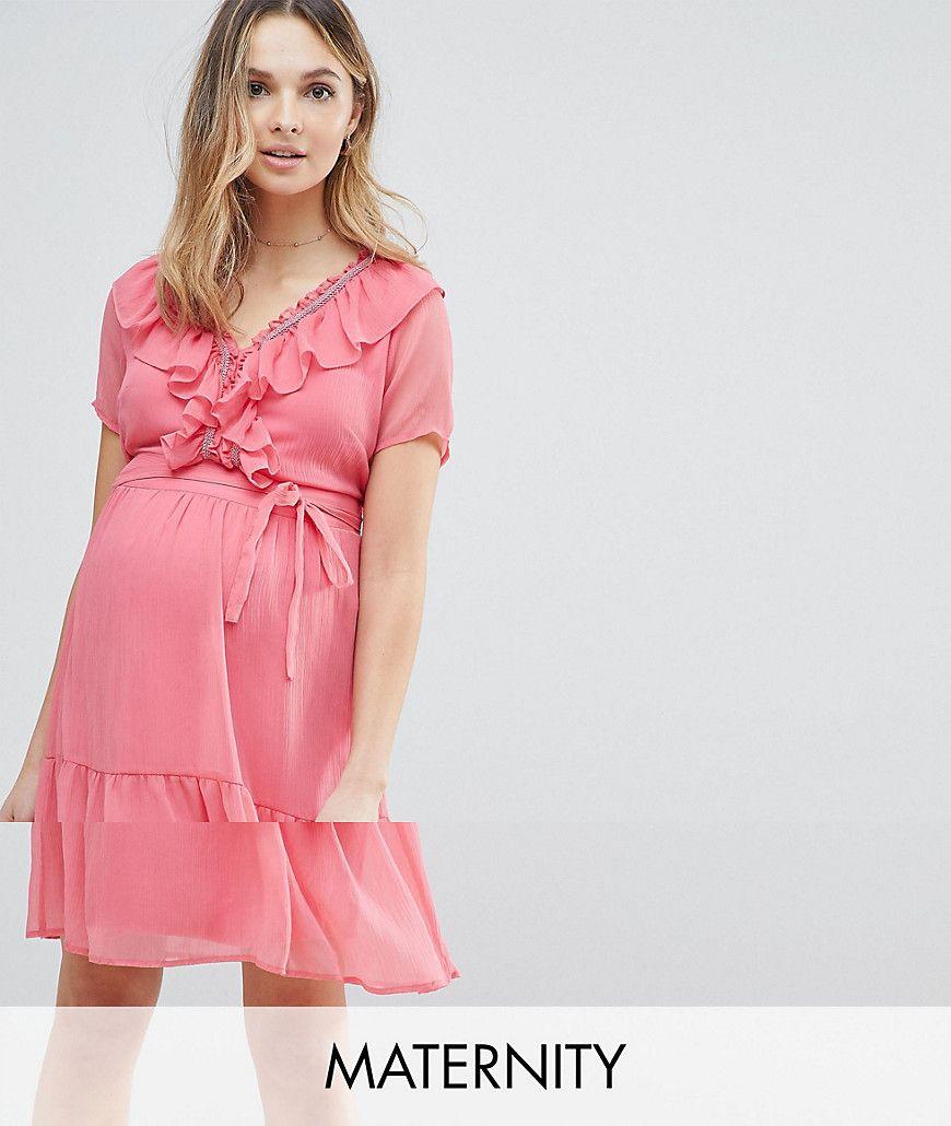 1740235629340 Mamalicious frill mini tea dress in pink in 2019   pretty top ...