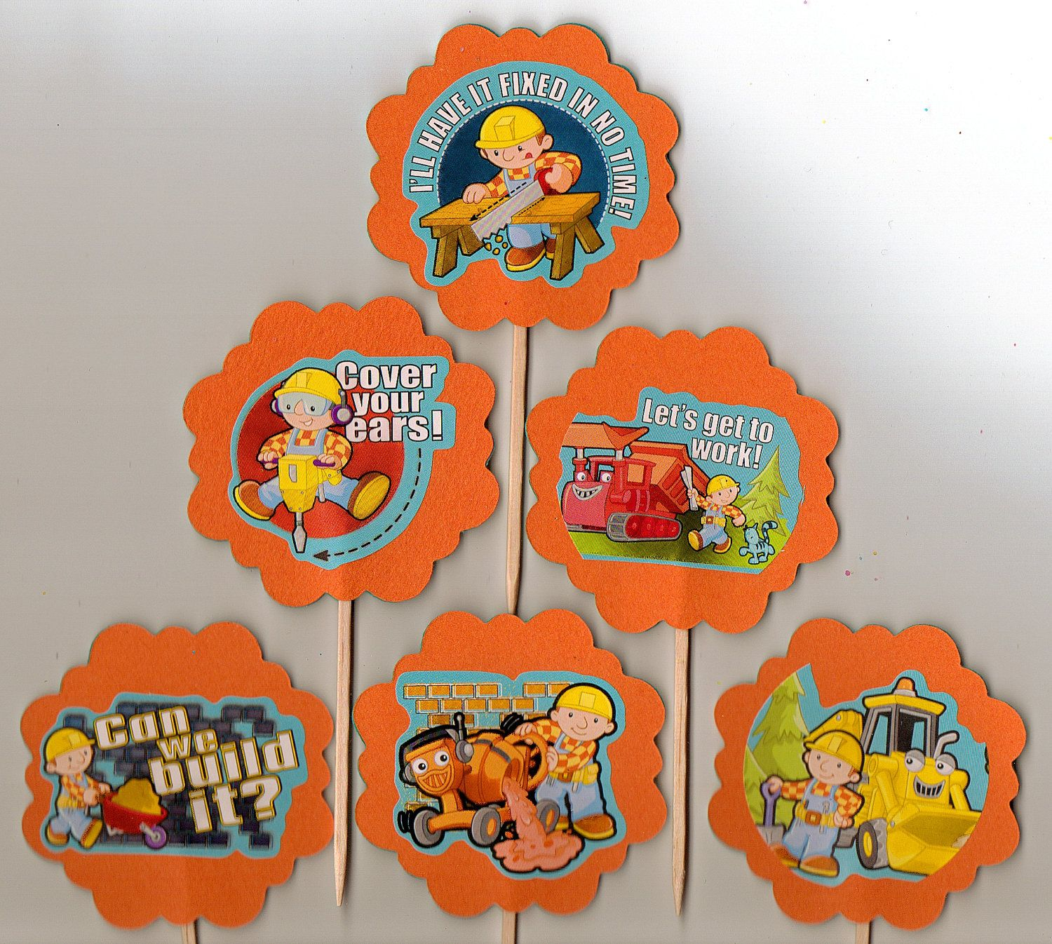 Bob The Builder Birthday Party Cupcake Toppers Set Of 12 Food Picks
