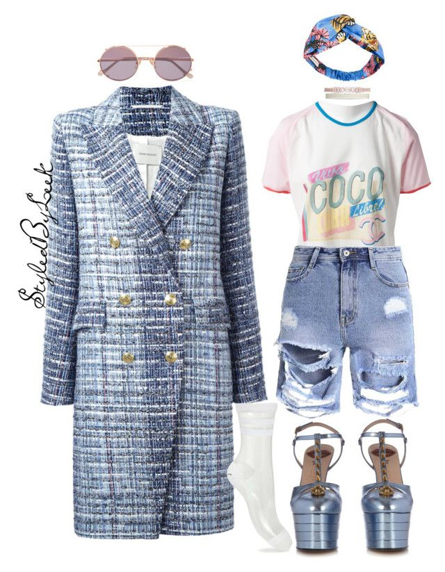 """StyledByLeek"" by stylebywho on Polyvore featuring Pierre Balmain, Chanel, Gucci, Miss Selfridge, Fallon and Sunday Somewhere"