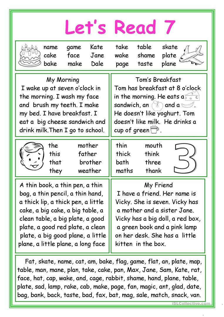 Let S Read 7 Worksheet Free Esl Printable Worksheets Made By Teachers Phonics Reading Activities Phonics Reading Preschool Reading [ 1079 x 763 Pixel ]