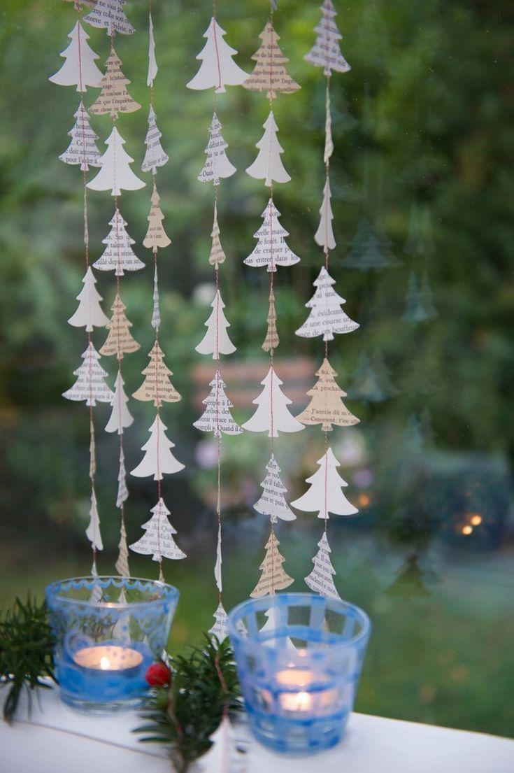diy ideen fensterdeko weihnachten basteln buchpapier #weihnachtsdeko #ideen #christmasdecoration #Ästeweihnachtlichdekorieren