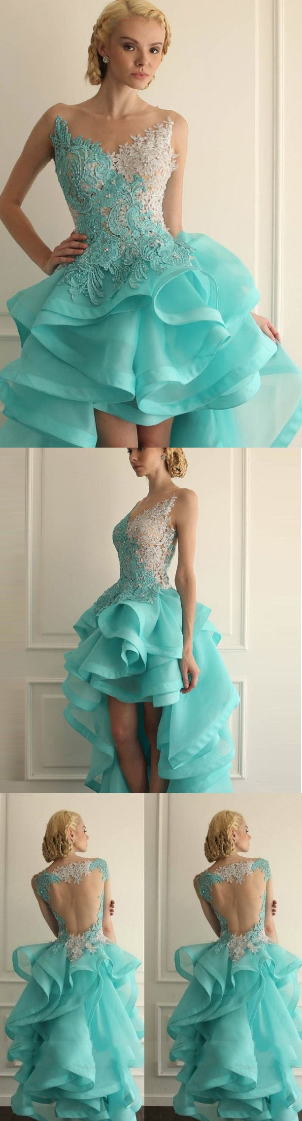 Cute light blue short homecoming prom dress with openback ruffles